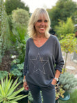 Double Star Top in Dark Grey