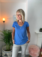 Blue V Neck Star Tee