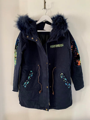 Hooded Parka with Sequins