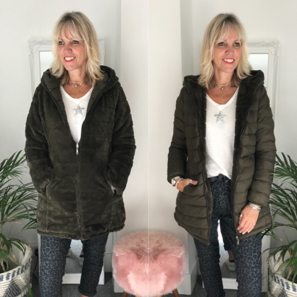 Reversible Quilted & Fur Coat