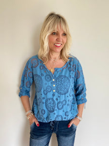 Lace Blouse & Camisole in Blue