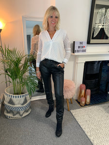 Real Leather Slim Leg Trousers
