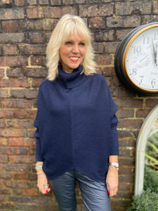 Roll Neck Poncho Jumper in Navy