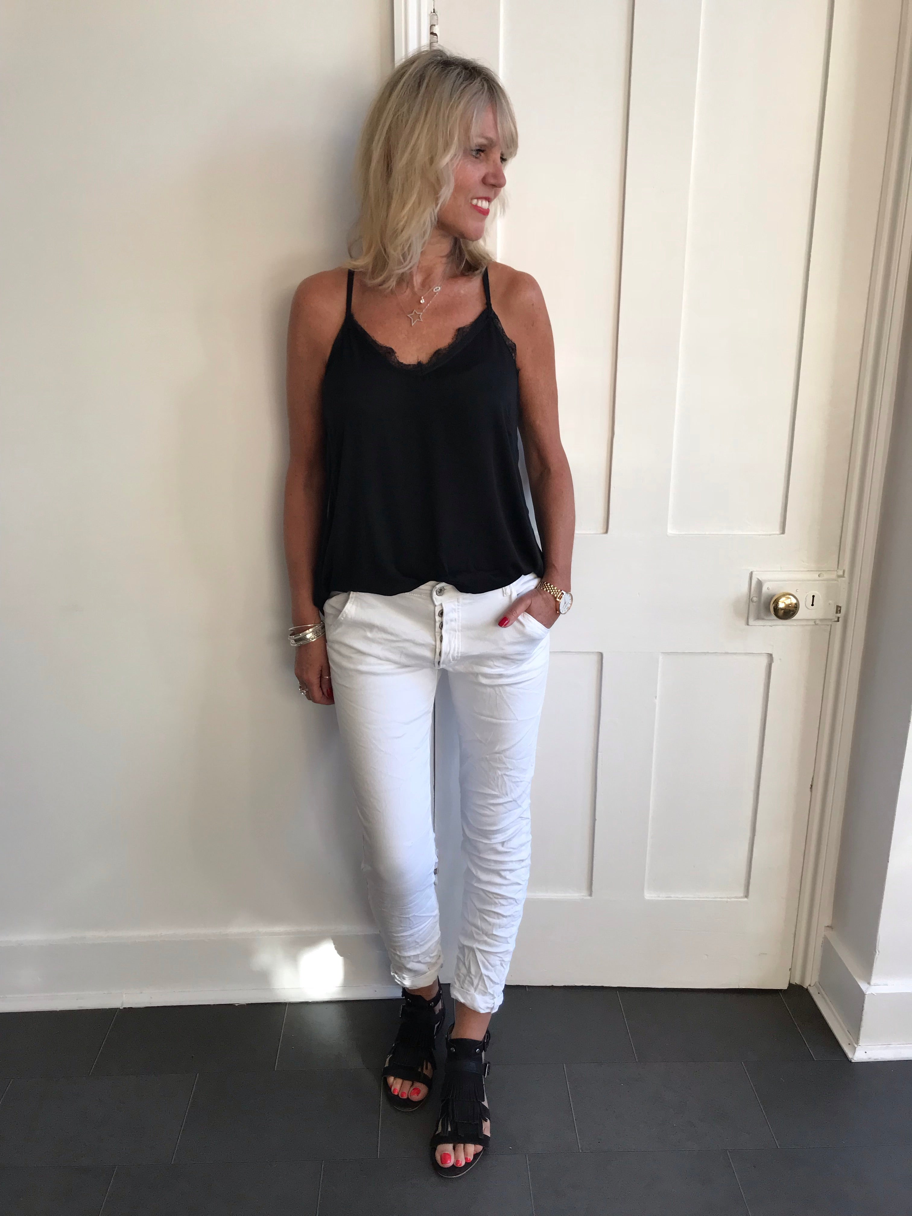 White Skinny Jeans with Button Fly