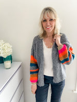 Luxe Cardi with Stripe Sleeves