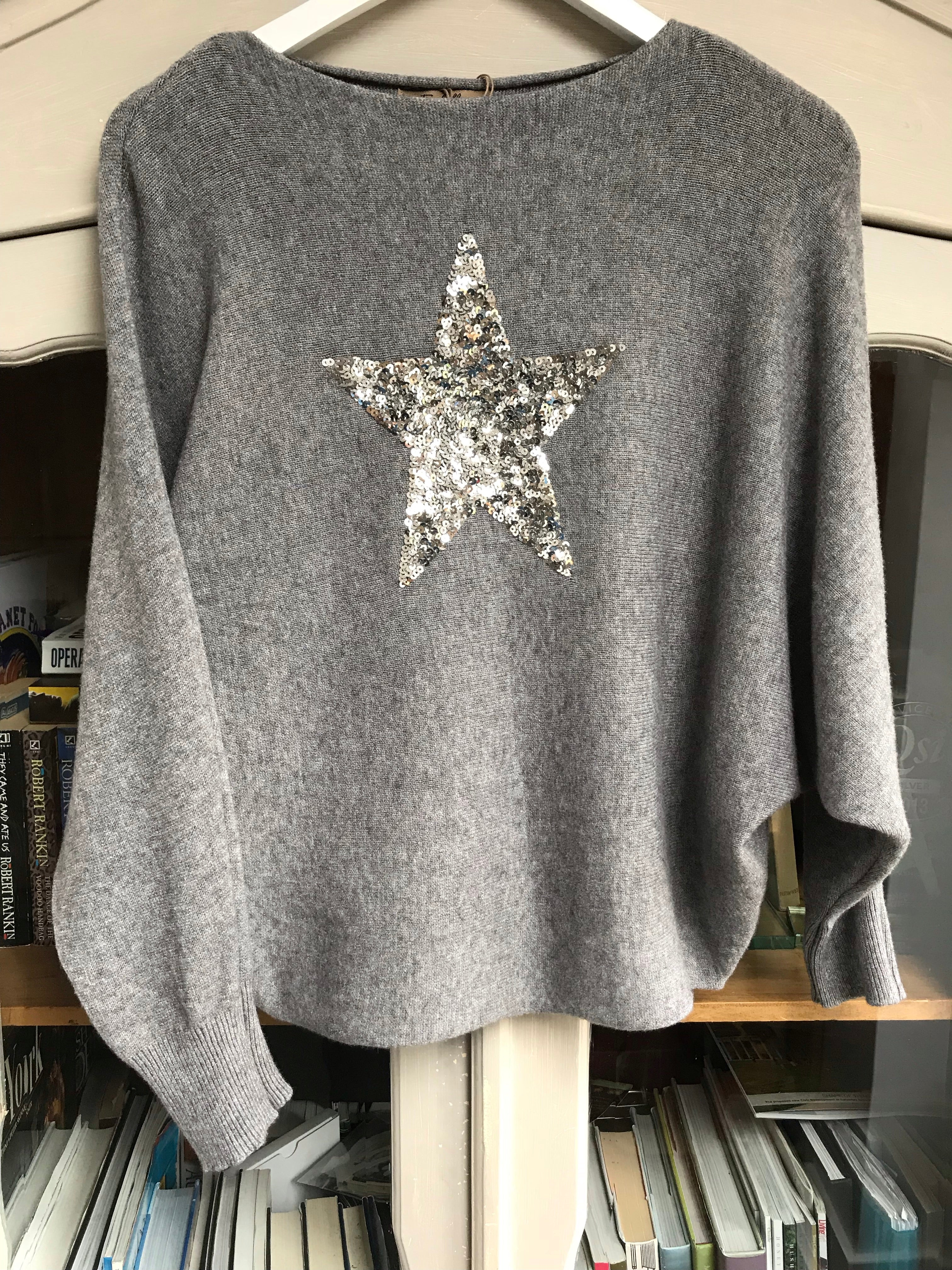 Grey Batwing Jumper with Sequin Star