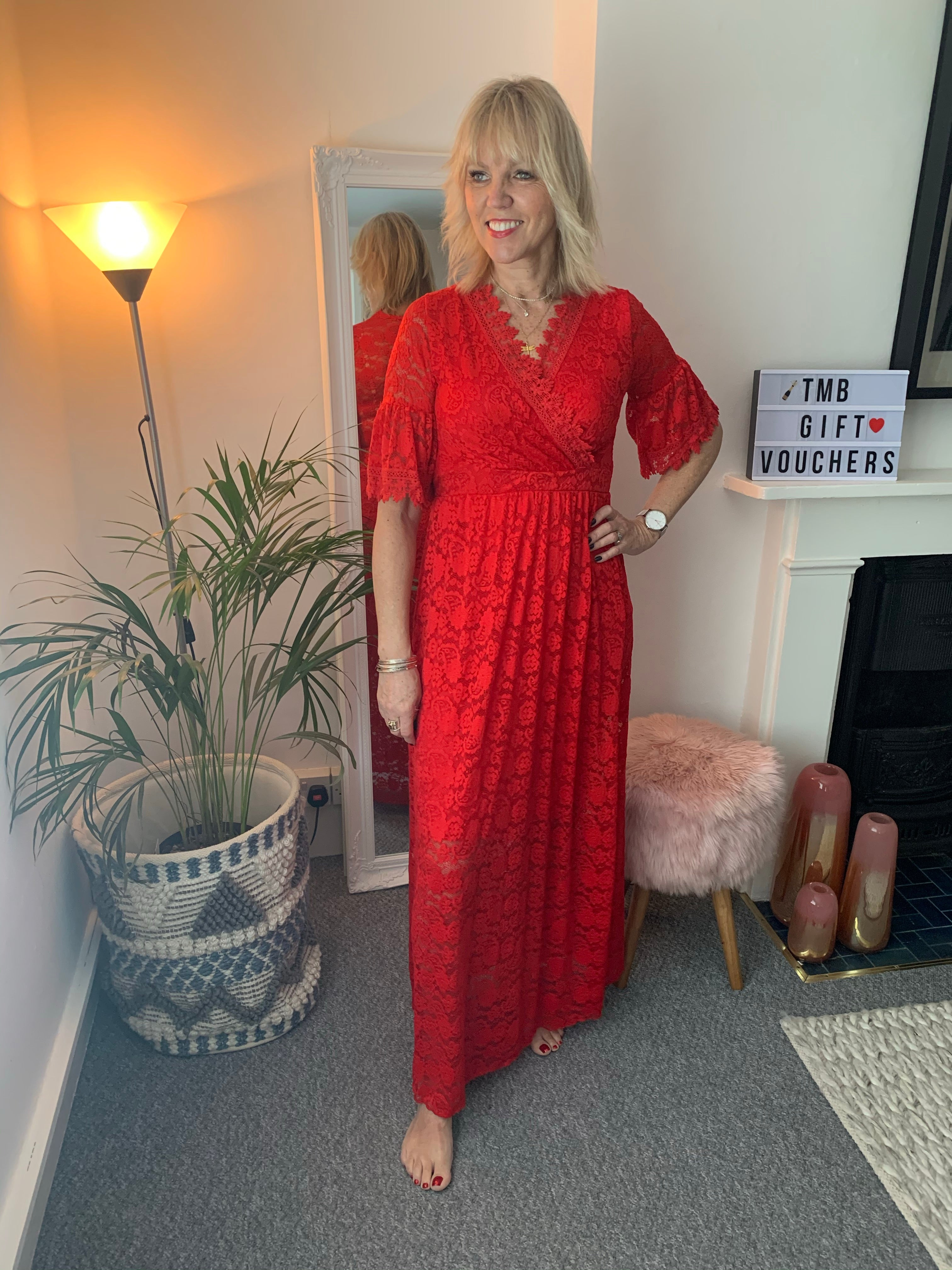 Red Lace Maxi Dress