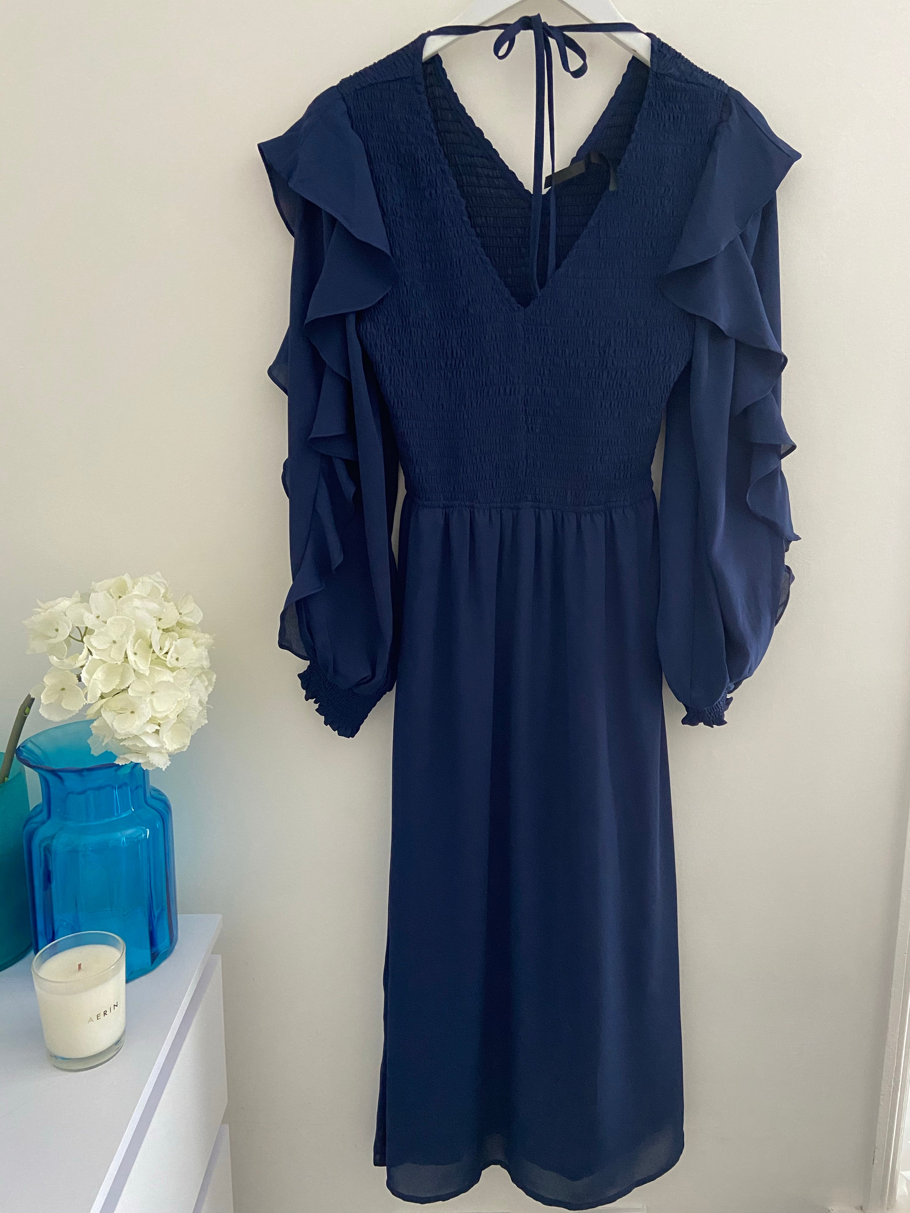 Blue Dress with Smocked Bodice