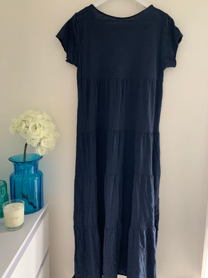 Navy Tiered Cotton Dress