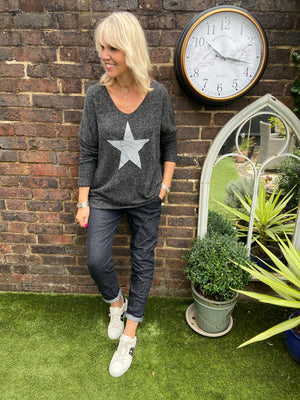 Fleecy Star Jumper in Charcoal