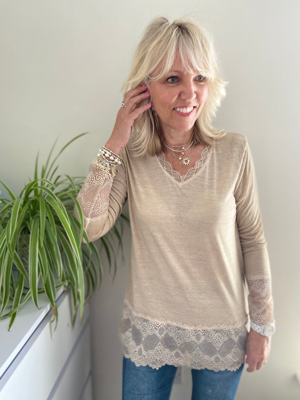 Long Sleeve Tee with Lace Trim in Stone