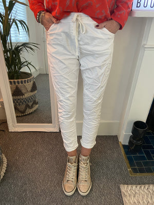 Magic Panelled Joggers in White