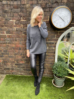 Ribbed Star Jumper in Charcoal