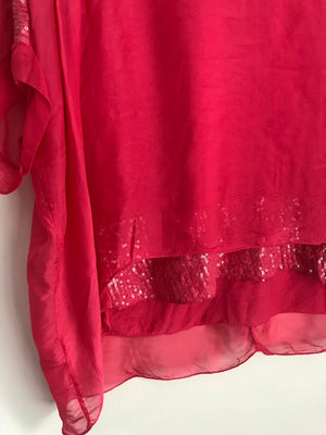 Pink Silky and Sequin Top