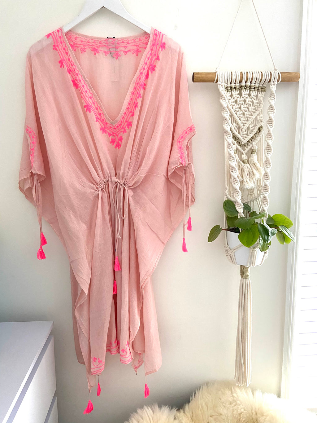 Pink Cotton Kaftan with Pink Embroidery