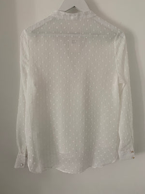 Dotty Blouse with Sheer Sleeves