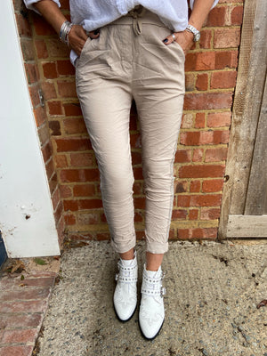 Stone Stretch Joggers with Silver Stitching