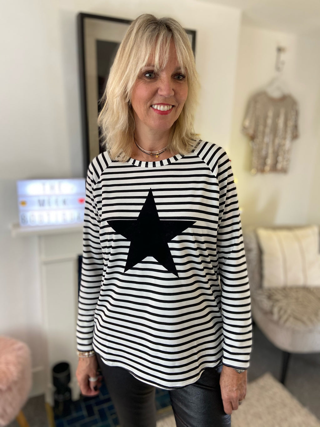 Stripe Star Tee in Black & White