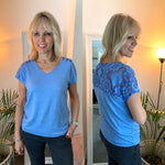 Blue Tee with Lace
