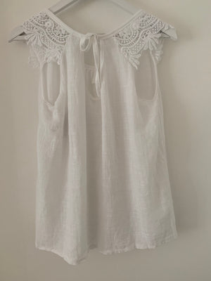 Cotton Top with Lace Edging