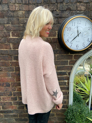 Cardi with Elbow Stars in Rose Pink