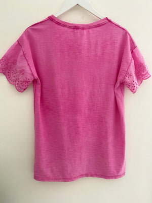 Lace Sleeve Tee in Pink