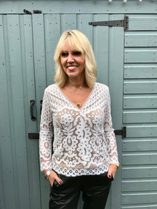 Lace V Neck Blouse with Nude Lining