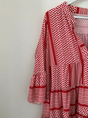 Red and White Printed Tunic Dress