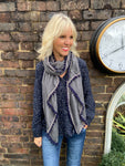 Grey Scarf with Aztec Trim & Pompoms