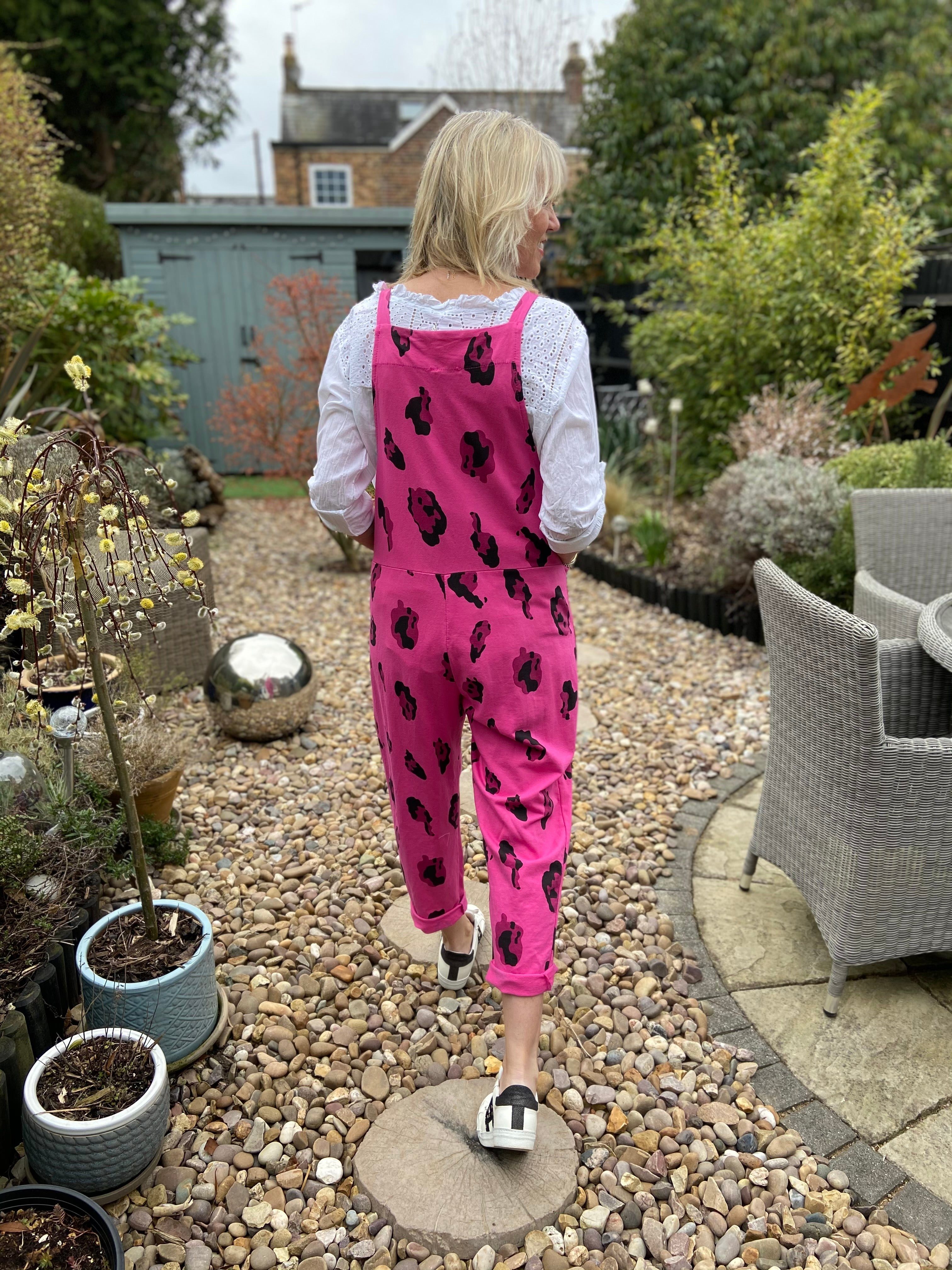 Jersey Leopard Dungarees in Fuchsia
