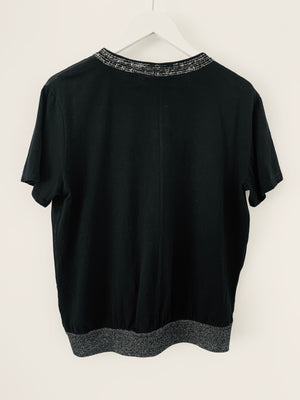 Black Satin Front Cotton Top