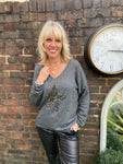 Leopard Star Cashmere Jumper in Charcoal