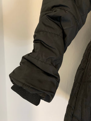 Black Quilted Coat with Hood