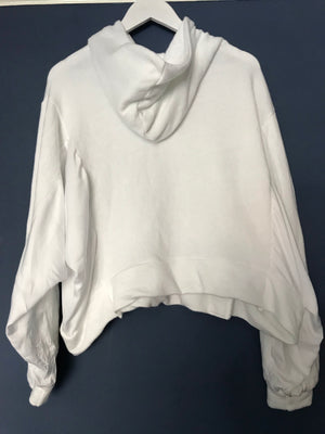Soft White Hoodie with Silky Panels