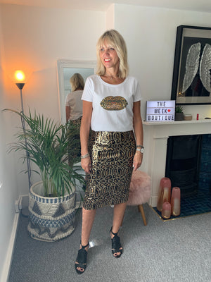 Leopard Sequin Skirt