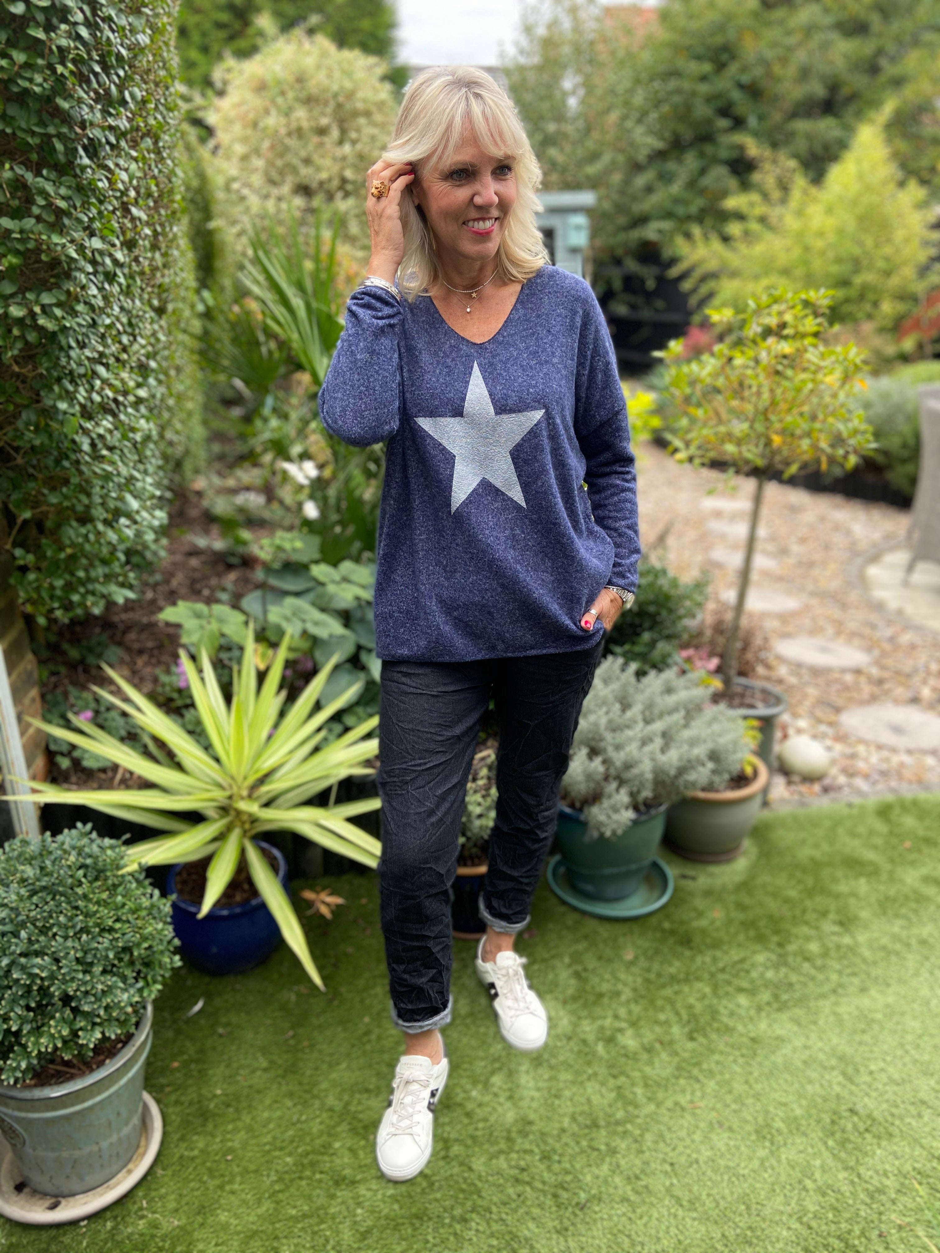 Fleecy Star Jumper in Blue