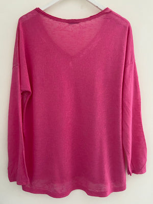 Shimmery Pocket Top in Pink