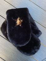 Faux Fur Star Scarf in Black