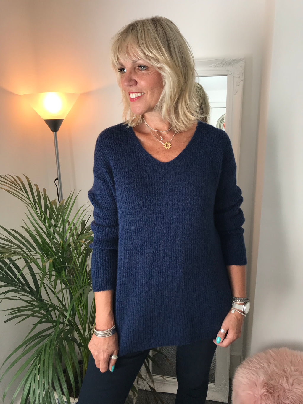 Cosy Navy V Neck Sweater