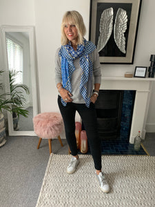 Blue Silk Mix Scarf