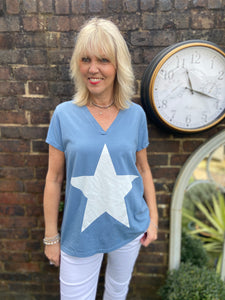Star Tee in Blue & White