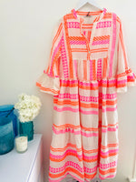 Embroidered Midi Dress in Pink & Orange
