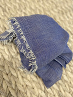 Blue Scarf with Frayed Edge