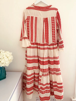 Red & White Embroidered Midi Dress