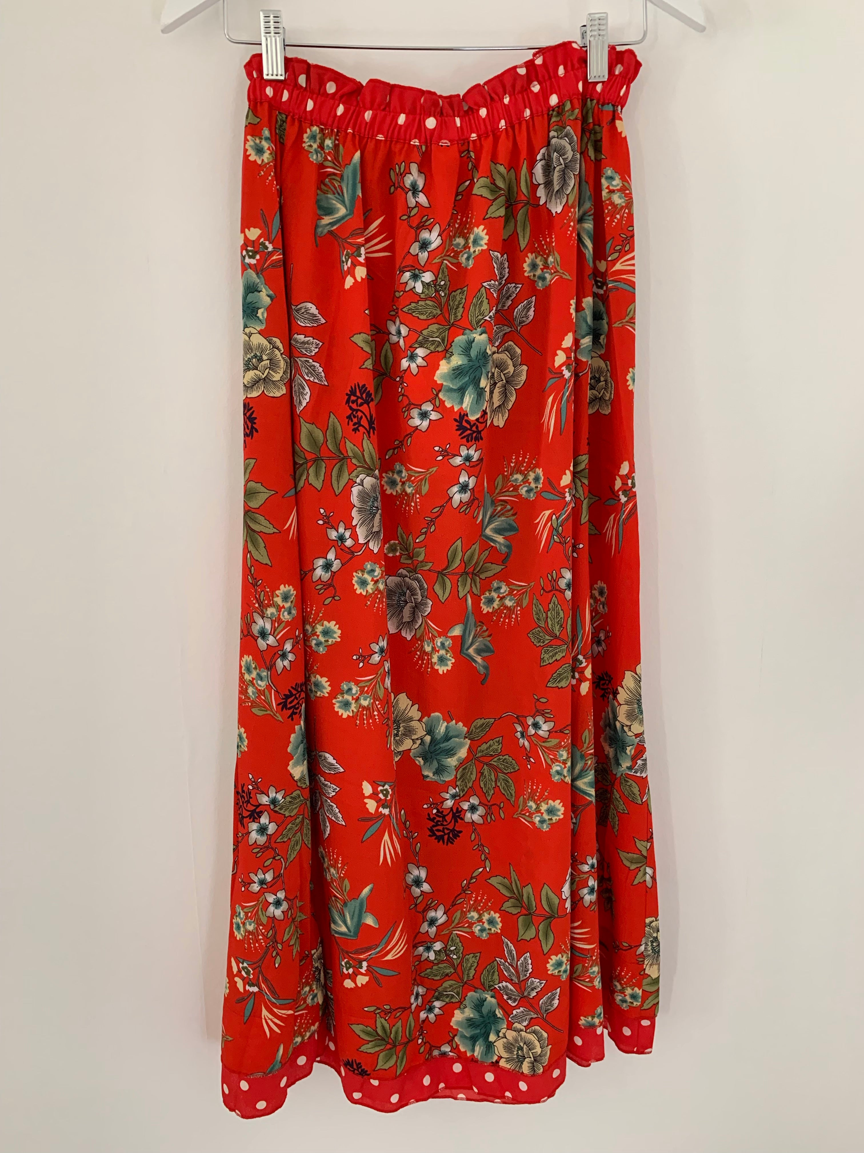 Red Patterned Maxi Skirt
