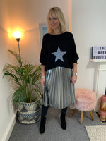 Black Batwing Jumper with Glitter Star