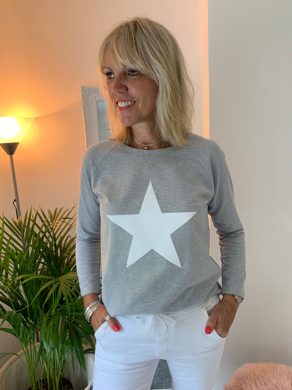 Marl Grey Long Sleeve Tee with White Star