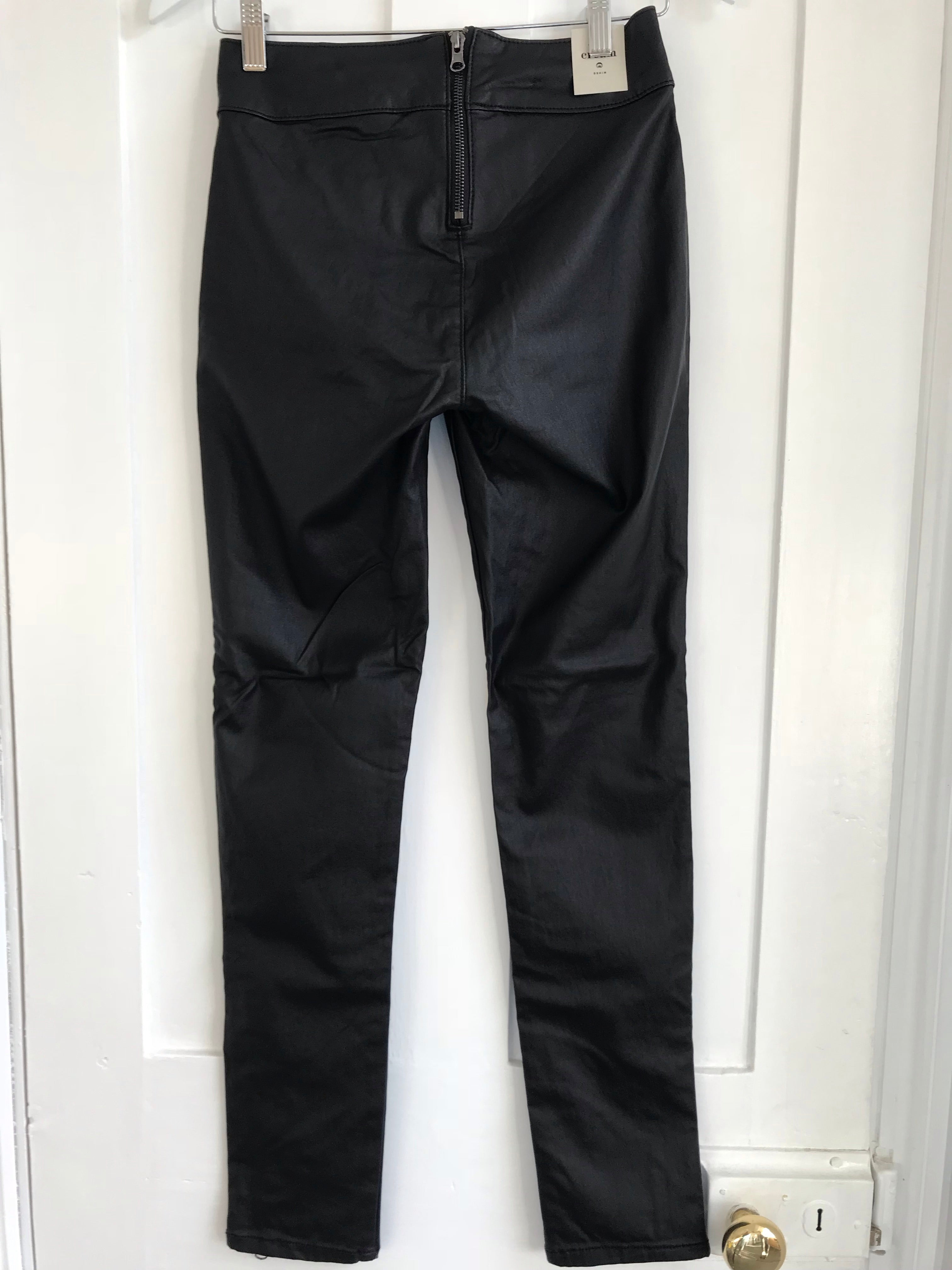 Black Coated Skinny Trousers