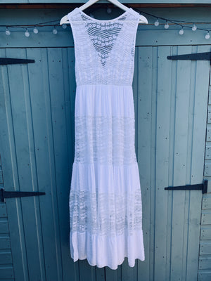Lace Panel Dress in White