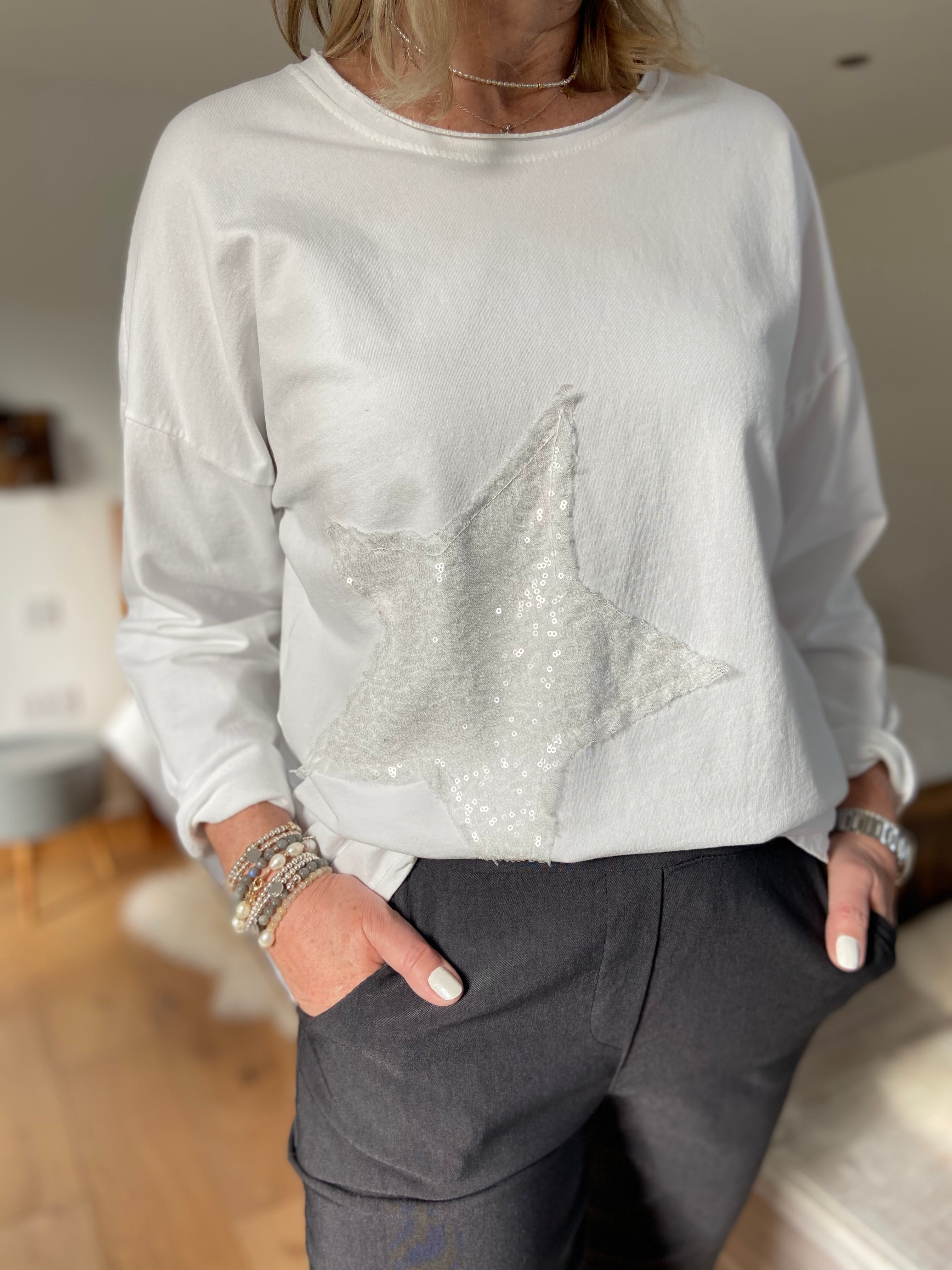 White Top with Sequin Star